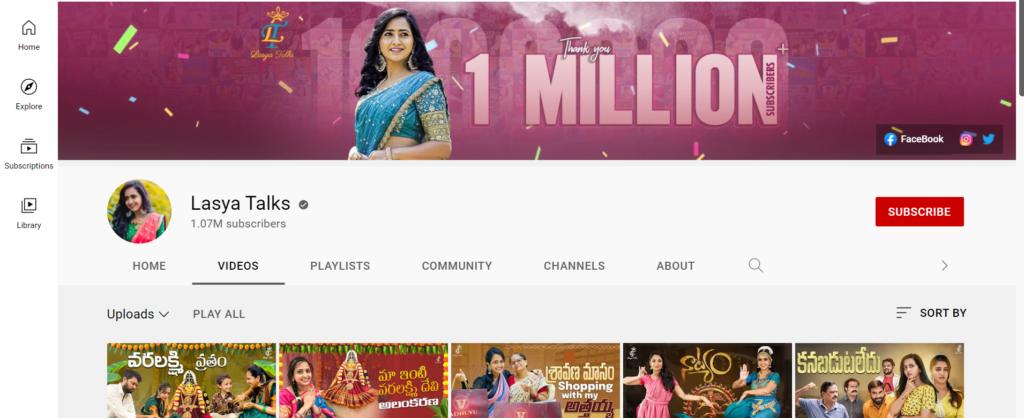 Lasya Manjunath Youtube Channel