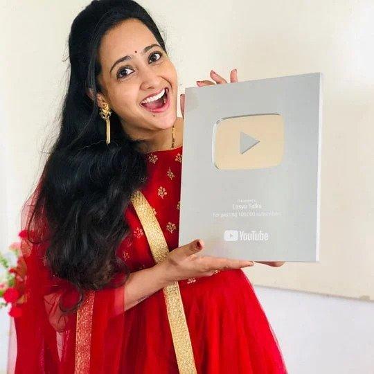 Lasya Manjunath with her Silver Play Button
