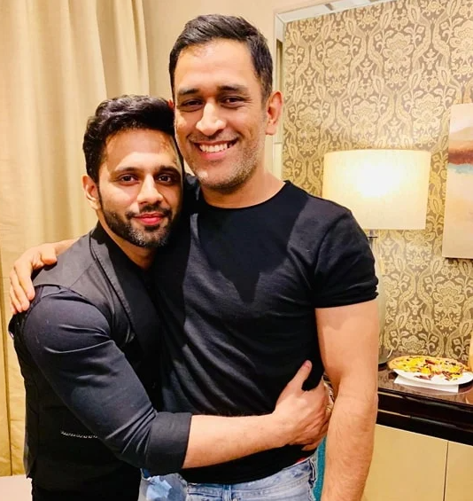 Rahul Vaidya with Mahendra Singh Dhoni