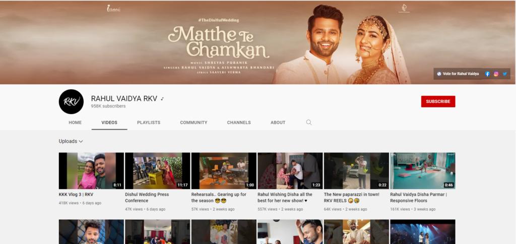 Rahul Vaidya YouTube Channel